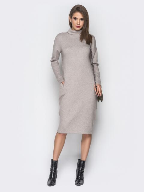 Бежевое платье с карманами и воротником-хомут - 18683, фото 1 – интернет-магазин Dressa