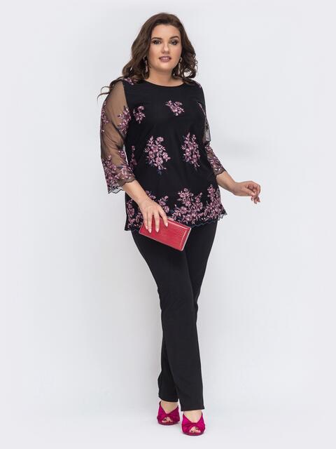 Чёрный комплект из блузки в фактурную сетку и брюк 43310, фото 1