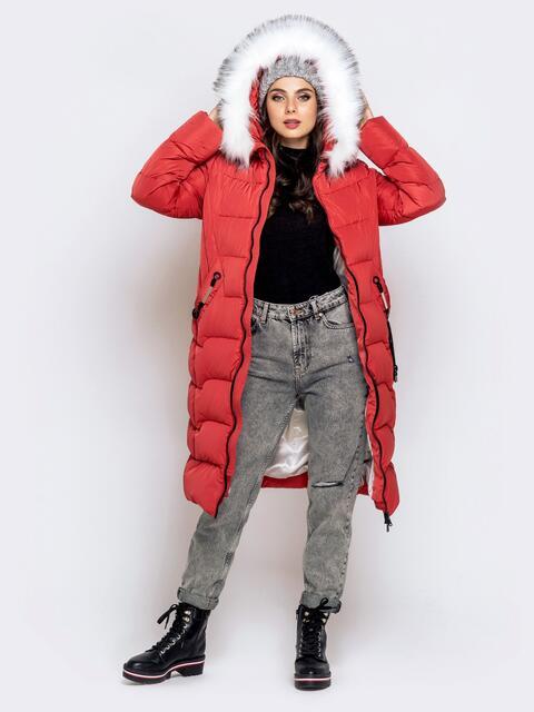 Длинная куртка со съемным капюшоном коралловая 40161, фото 1