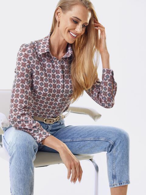Классическая рубашка с бордовым принтом 53500, фото 1