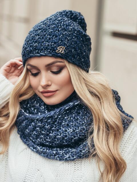 Комплект из шапки-колпак и хомута крупной вязки синий - 15545, фото 2 – интернет-магазин Dressa