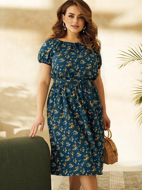 Платье большого размера с коротким рукавом синее 53727, фото 1