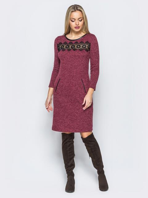 Платье бордового цвета с кантом из кожзама 17683, фото 1