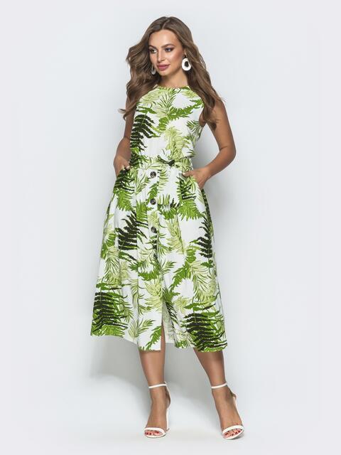 c965e64ea650f64 Принтованное платье из льна с поясом - 39703, фото 1 – интернет-магазин  Dressa