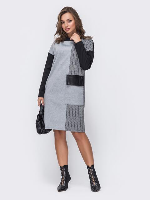 Прямое платье-миди из трикотажа серое 51662, фото 1