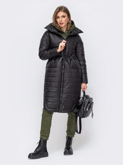 Удлиненная куртка с разрезами по бокам чёрная 51023, фото 1