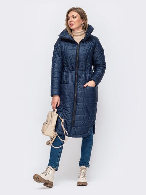 Удлиненная куртка с разрезами по бокам темно-синяя 51022, фото 1