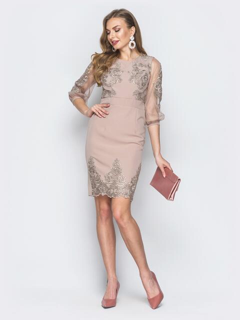 Бежевое платье с вышивкой и рукавами из органзы - 18697, фото 1 – интернет-магазин Dressa