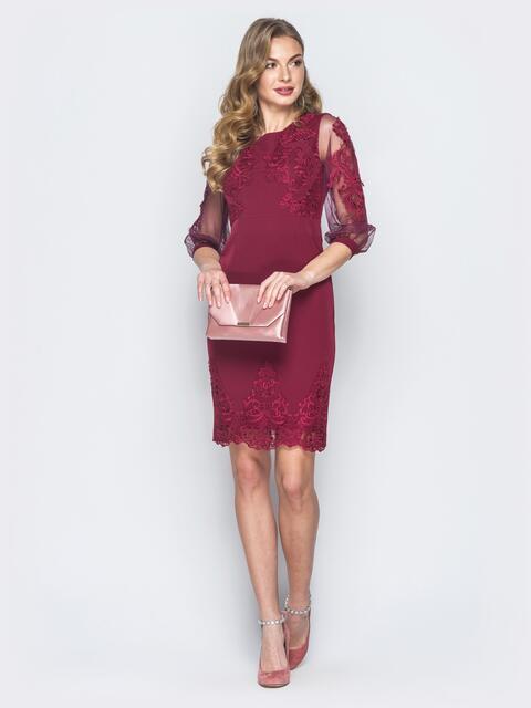 b0e7baa4ef9 Бордовое платье с вышивкой и рукавами из органзы 18698 – купить в ...