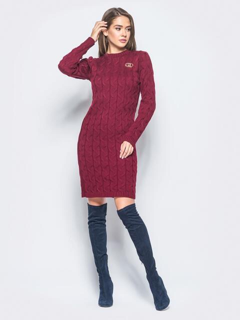 Бордовое вязаное платье с фурнитурой на полочке1 - 15911, фото 1 – интернет-магазин Dressa