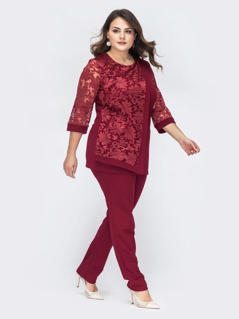 Брючный комплект большого размера с блузкой бордовый 44384, фото 1