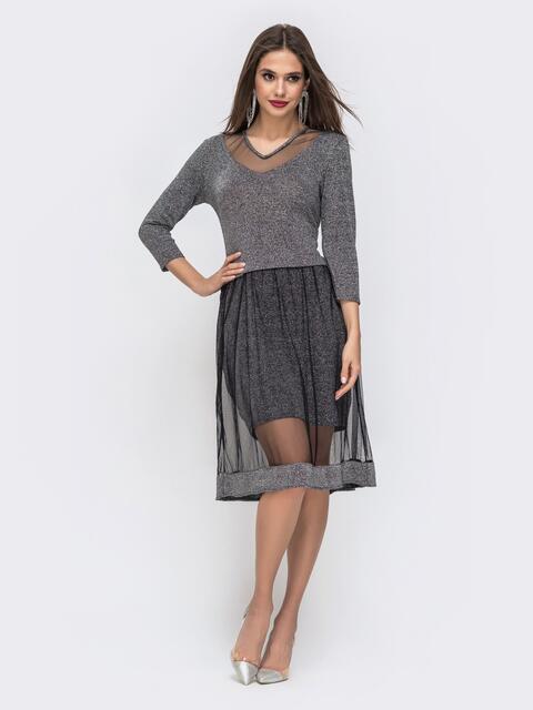 Чёрное платье с люрексом и двойной юбкой 42824, фото 1