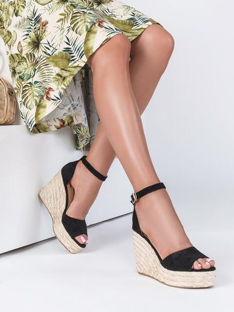 Чёрные босоножки из замши на плетеной платформой - 49681, фото 1 – интернет-магазин Dressa