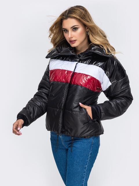 Дутая куртка с объемным воротником и контрастными вставками чёрная - 42808, фото 1 – интернет-магазин Dressa