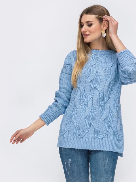 Голубой свитер с удлиненной спинкой - 43133, фото 1 – интернет-магазин Dressa