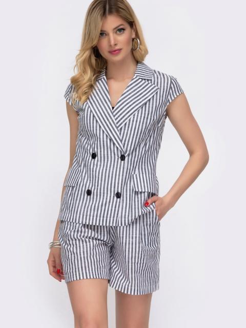 Комплект из жакета и шорт в серую полоску - 48033, фото 1 – интернет-магазин Dressa