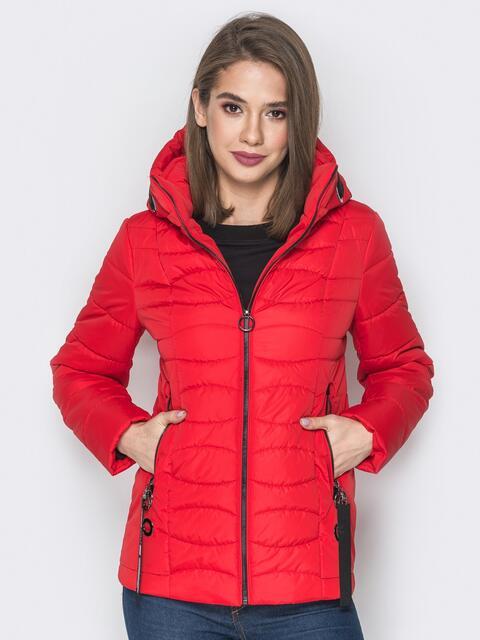 Красная куртка с воротником-стойкой и съёмным капюшоном - 20293, фото 1 – интернет-магазин Dressa