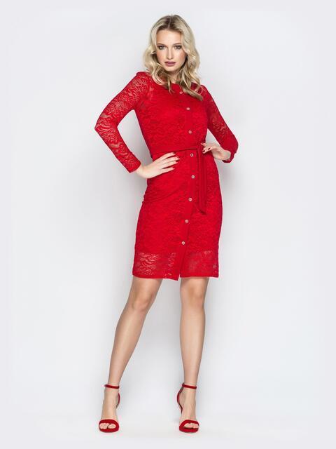 Красный комплект из платья-футляр и гипюровым кардиганом - 20601, фото 1 – интернет-магазин Dressa