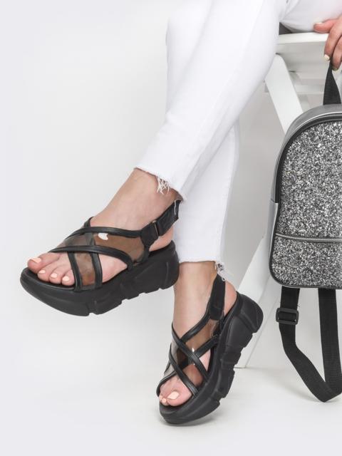 Массивные босоножки в спортивном стиле чёрные - 39610, фото 1 – интернет-магазин Dressa