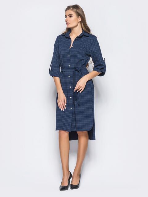 Платье-рубашка со шлёвками на рукавах в тёмно-синюю клетку 16443, фото 1