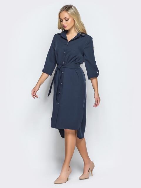 Платье-рубашка тёмно-синего цвета с удлиненной спинкой - 16440, фото 1 – интернет-магазин Dressa