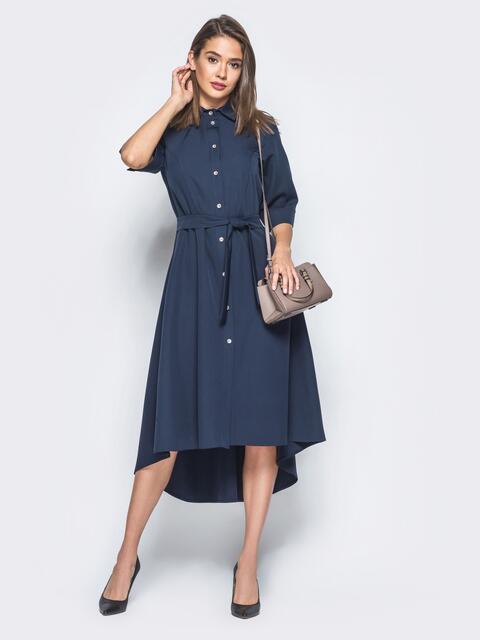 Платье-рубашка тёмно-синего цвета со шлейфом 16445, фото 1