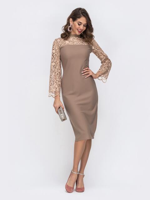 Платье с рукавами и кокеткой из сетки с узором бежевое 52609, фото 1