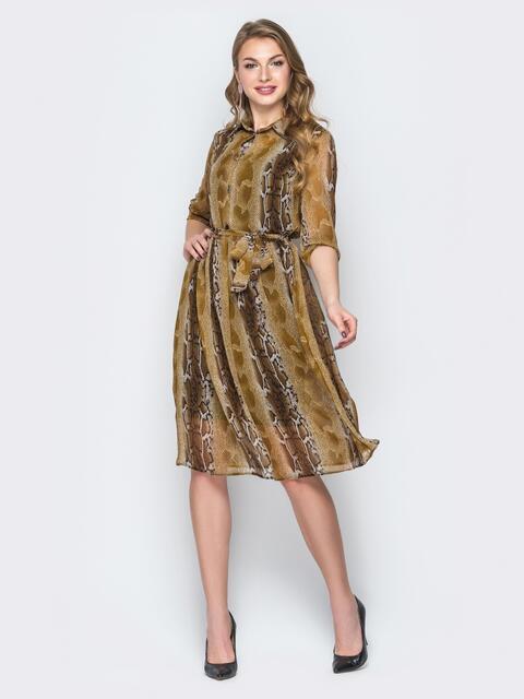 Принтованное платье из шифона бежевое - 19538, фото 1 – интернет-магазин Dressa