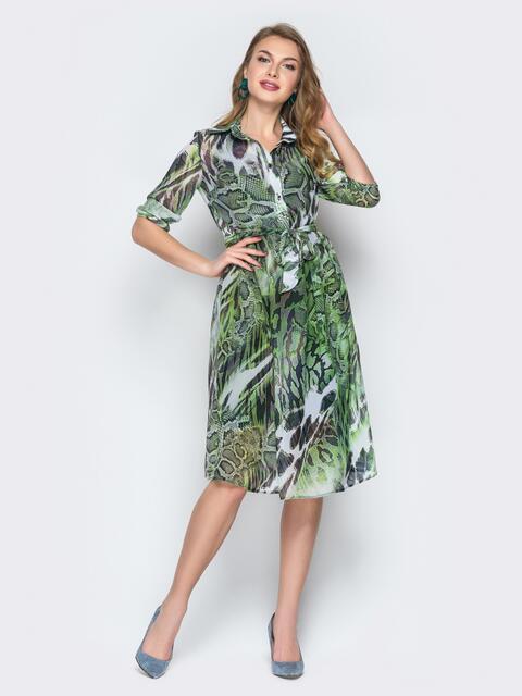 Принтованное платье из шифона зелёное - 19537, фото 1 – интернет-магазин Dressa