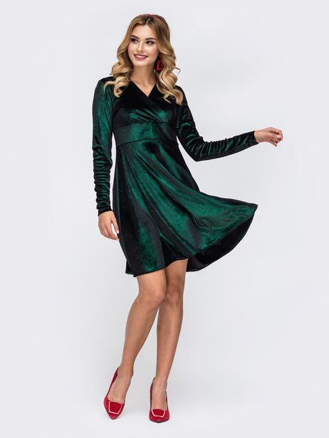 Приталенное платье с замшевым напылением зеленое 42817, фото 1