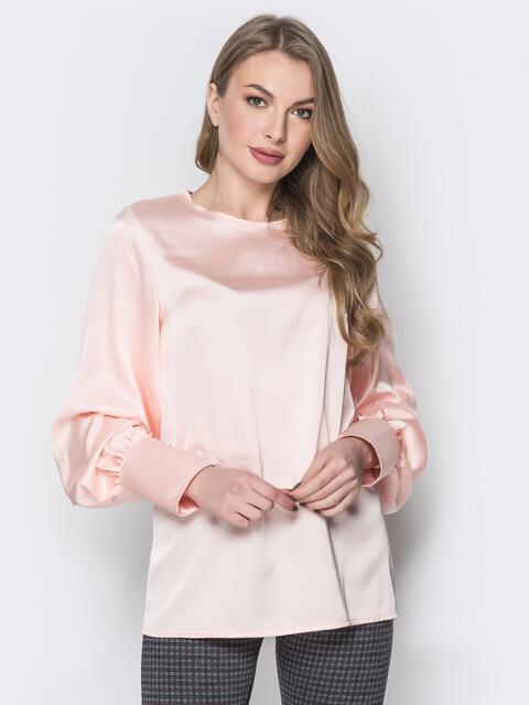 Розовая блузка с объёмными рукавами на широких манжетах 20212, фото 1