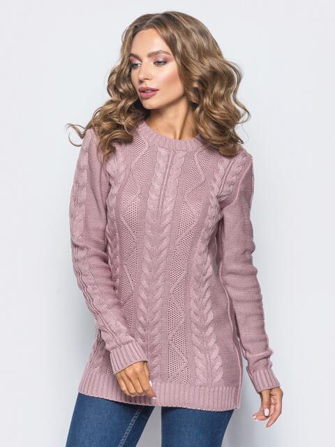 """Розовый свитер ажурной вязки с узором """"косы"""" - 15973, фото 1 – интернет-магазин Dressa"""