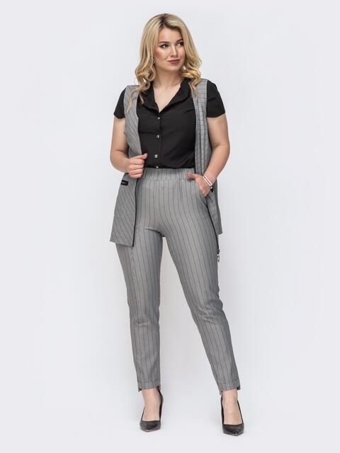 Серый комплект большого размера в полоску из жилета и брюк 49878, фото 1