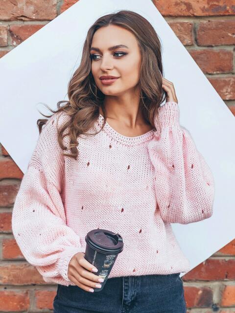 """Свободный розовый джемпер с перфорацией """"капли"""" - 16055, фото 1 – интернет-магазин Dressa"""