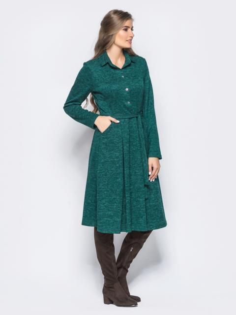 Трикотажное платье-рубашка с расклешенной юбкой зелёное 16453, фото 1