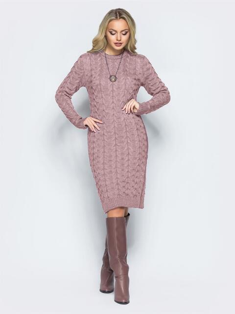 """Вязаное платье с объемным узором """"коса"""" пудровое - 16111, фото 1 – интернет-магазин Dressa"""