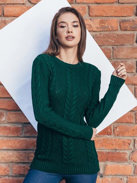 """Зелёный свитер ажурной вязки с узором """"косы"""" 15974, фото 1"""