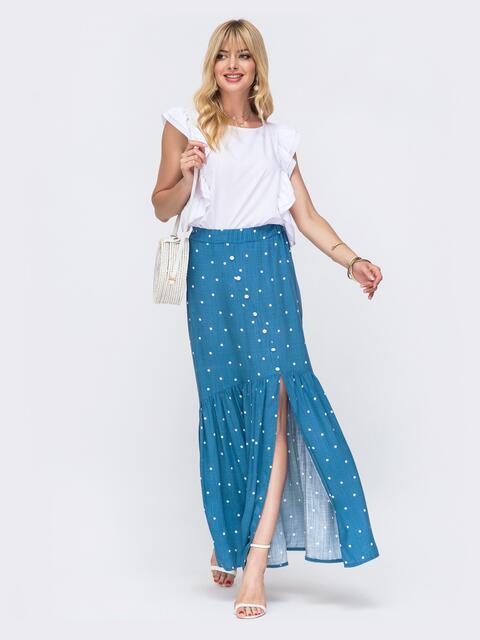 Костюм из блузки и длинной юбки голубого цвета в горох 49328, фото 1