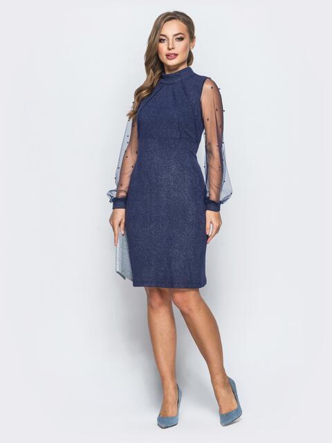Платье с люрексом и бусинами на фатиновых рукавах синее - 18280, фото 1 – интернет-магазин Dressa