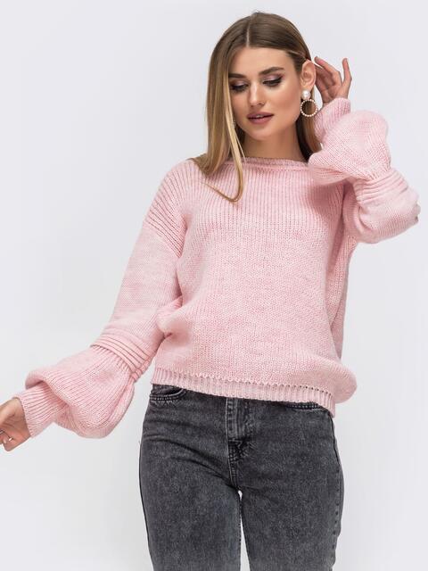 Пудровый свитер со спущенной линией плеч - 43131, фото 1 – интернет-магазин Dressa