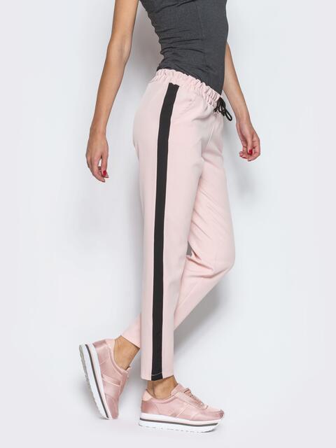 Розовые брюки-спорт с черными лампасами 10329, фото 1