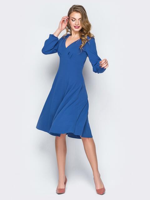 Синее расклешенное платье с драпировкой на кокетке - 20018, фото 1 – интернет-магазин Dressa