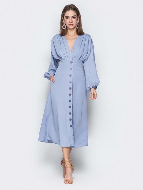 Сиреневое платье с драпировкой по лифу на пуговицах - 20109, фото 1 – интернет-магазин Dressa