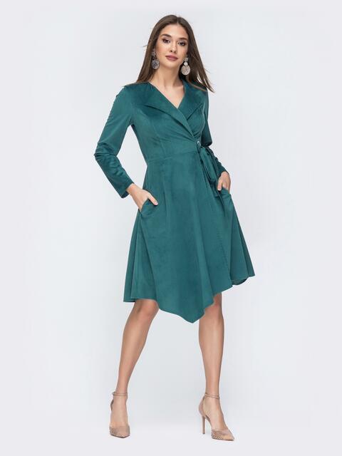 Тёмно-зелёное платье на запах из вельвета - 44215, фото 1 – интернет-магазин Dressa