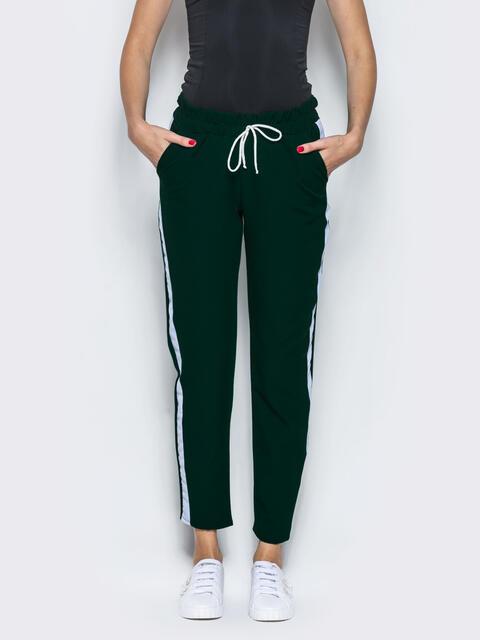 Зелёные брюки-спорт с белыми лампасами 12761, фото 1