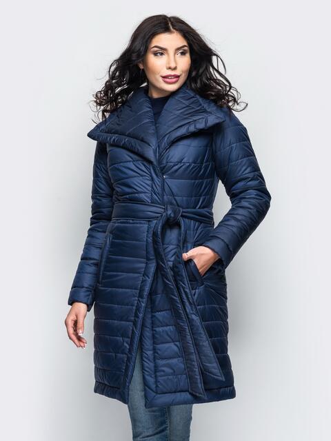 Зимняя куртка тёмно-синего цвета с отложным воротником 15244, фото 1