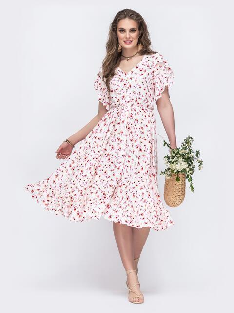 Белое платье с кулиской в поясе и рукавами-воланами 48508, фото 1