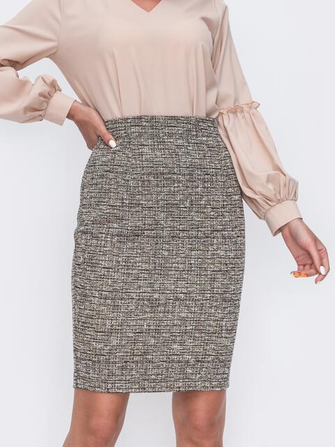 Бежевая юбка-карандаш на молнии  49597, фото 1