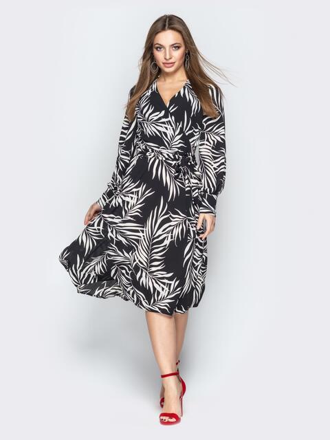 Чёрное платье на запах с принтом - 21092, фото 1 – интернет-магазин Dressa