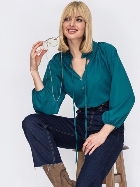 Свободная блузка с рюшей на воротнике и завязками бирюзовая 53292, фото 1